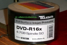 Traxdata DVD-R 4.7 GB Inkjet Printable, 50 Spindle 0,18 €/